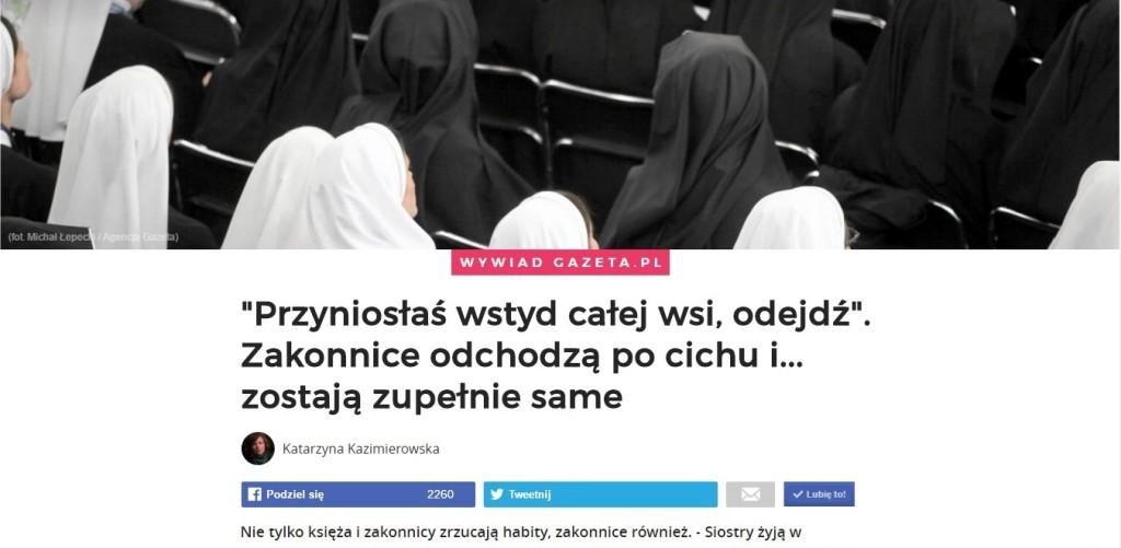 Gazeta.pl o samotności zakonnic